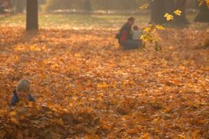 Jesienią w parku. Synek albo tata - wybór należy do fotografa.